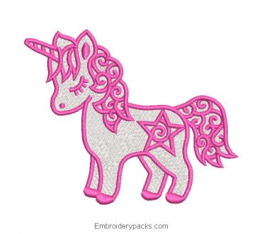 Pink Unicorn Pony Embroidery Design