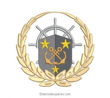 Pirate Shield Embroidery Design