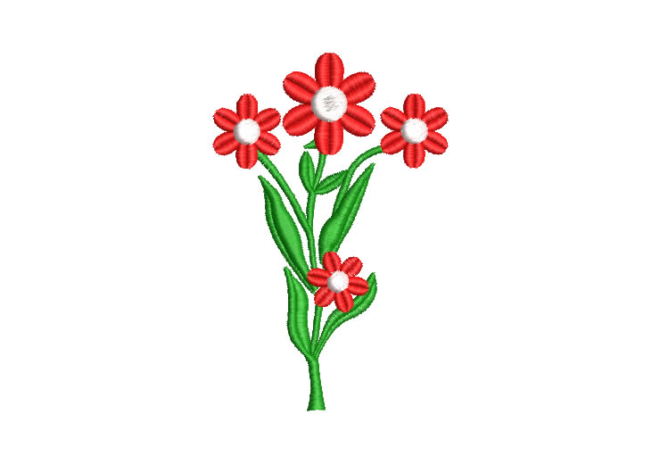Plant with Red Flowers Embroidery Designs