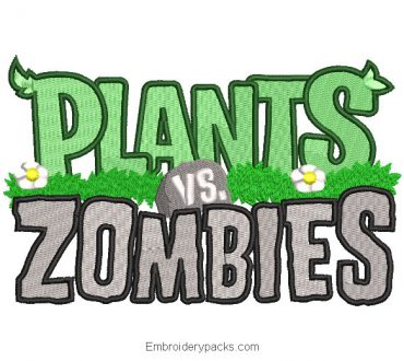 Plants vs Zombies Letter Embroidered Design