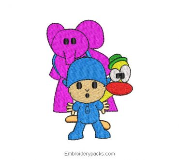 Pocoyo and friends embroidered design