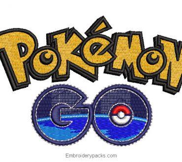 Pokemon Go letter and logo embroidery design