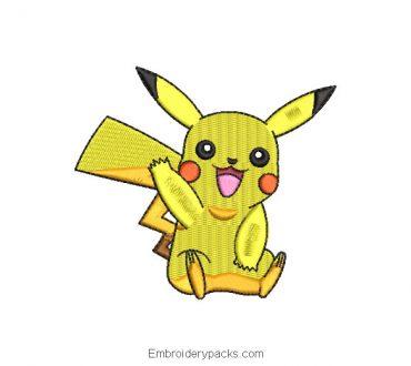 Pokemon Picachu Embroidered Design