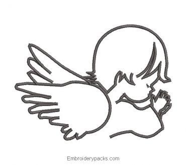 Praying angel boy embroidery design