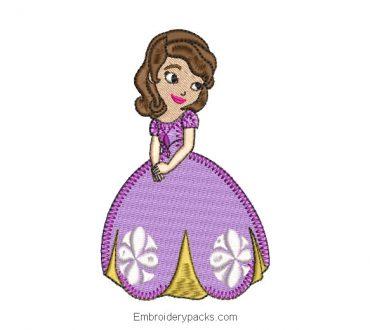 Princess sofia embroidery design with dress