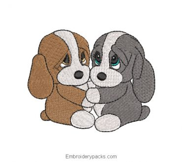 Puppies in love embroidery design