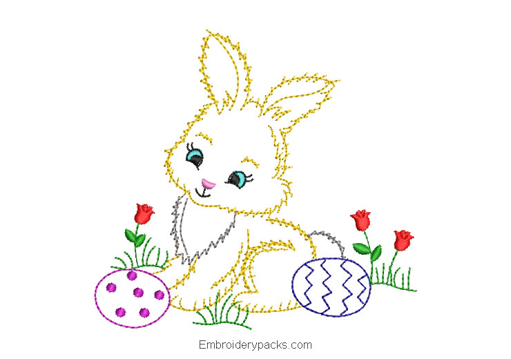 Rabbit with roses embroidery design