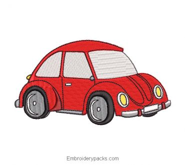 Red Car Embroidered Design