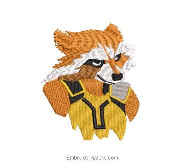 Rocket Raccoon Superhero Embroidered Design