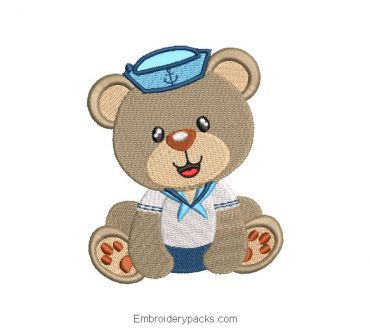 Sailor Bear Design for Machine Embroidery