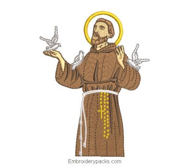 Saint Francis of Assisi Embroidered Design with Dove