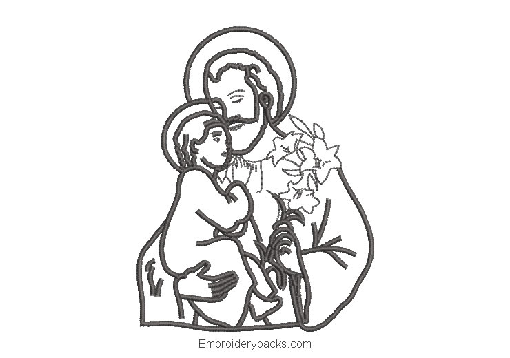 Saint embroidered design with child and flowers