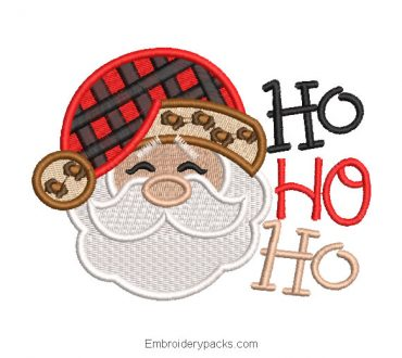 Santa Claus face embroidery design with decoration