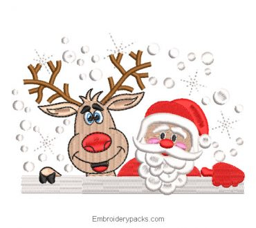 Santa Claus with reindeer embroidery design