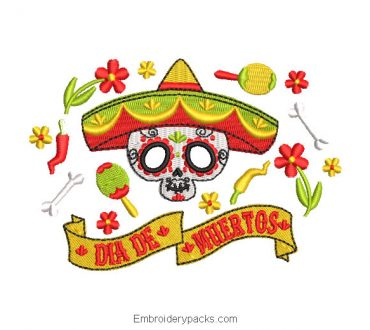 Skull Day of the Dead Embroidered Design