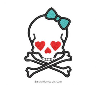 Skull with hearts embroidery design
