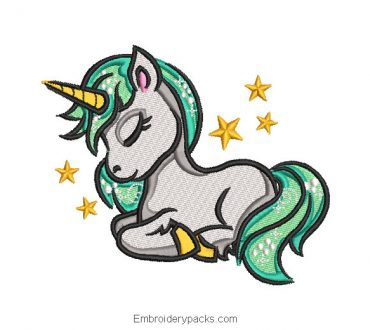 Sleeping unicorn pony embroidery