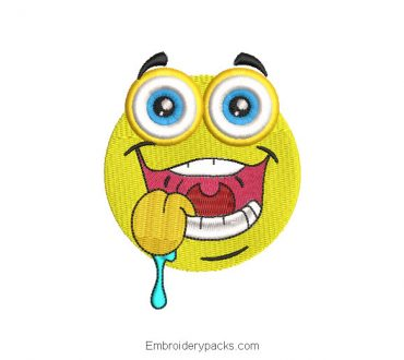 Smiley Emoji Machine Embroidered Design