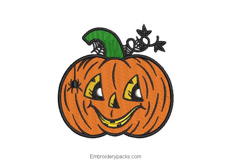 Smiling halloween pumpkin embroidery