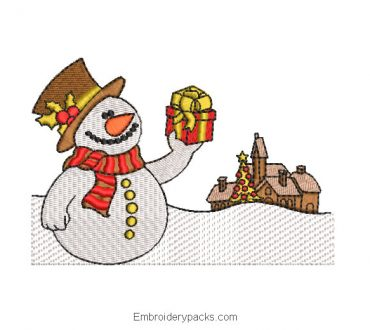 Snowman with Gift Embroidered Design