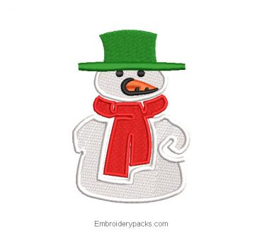 Snowman with scarf embroidered desig