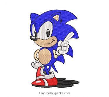 Sonic Machine Embroidered Design