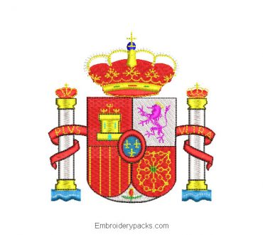 Spain coat of arms machine embroidery design