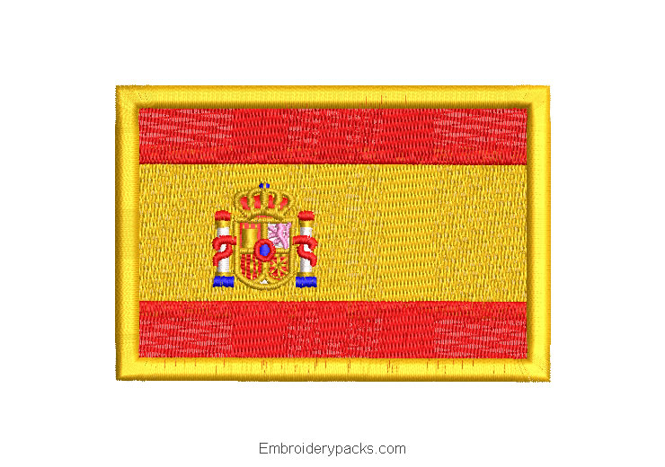 Spain flag embroidered design with shield