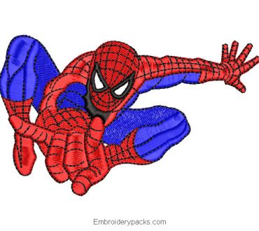 Spiderman flying spiderman embroidery design