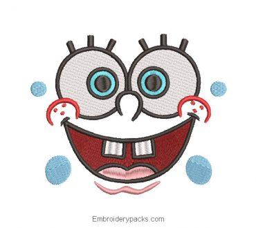 Spongebob face embroidery design