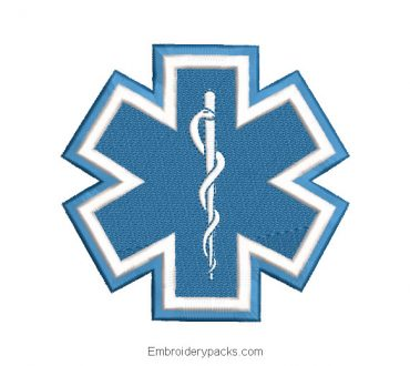 Star of Life Machine Embroidered Design