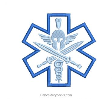 Star of Life with Helmet Embroidered Design
