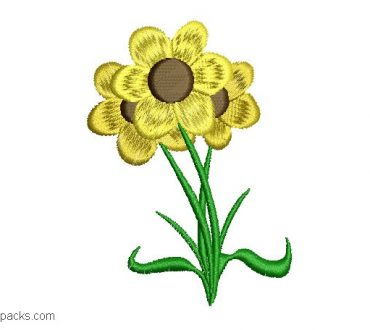 Sunflower design for machine embroidery