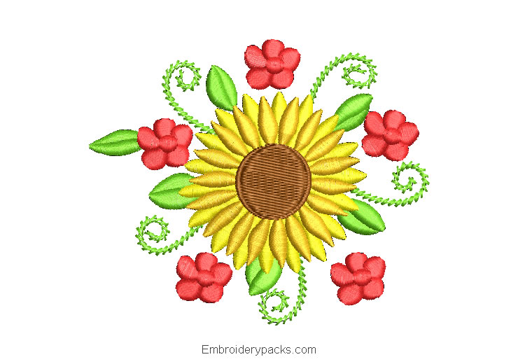Sunflowers and Green Leaves Embroidered Design