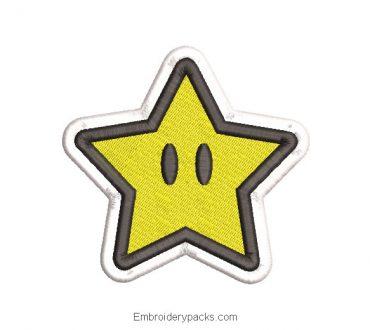 Super Mario Star Embroidered Design