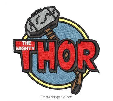 Thor logo embroidery design for machine