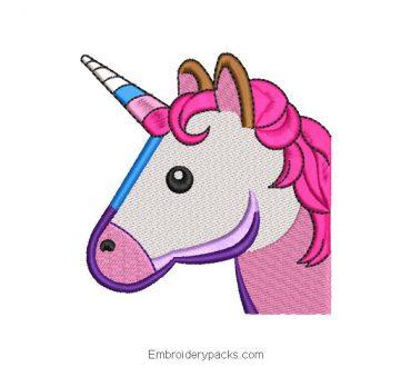 Unicorn Head Embroidered Design in Colors