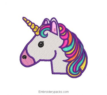 Unicorn face embroidery in colors