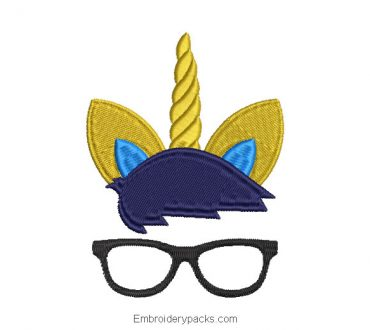 Unicorn face embroidery with glasses