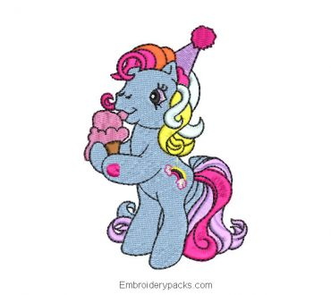 Unicorn pony embroidery design for birthday