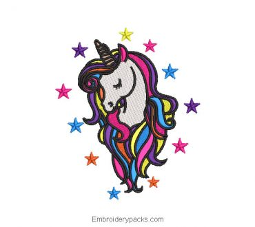 Unicorn pony embroidery design with stars