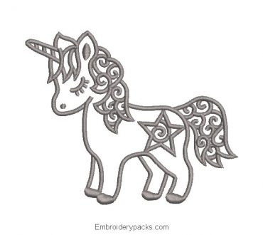 Unicorn pony embroidery with outlined star