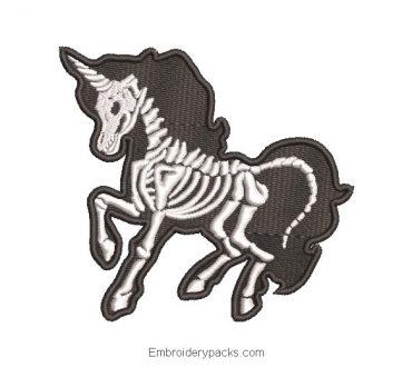 Unicorn skull embroidery design