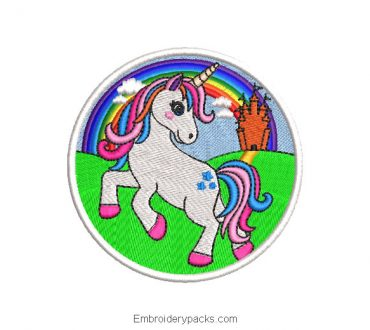 Unicorn sticker embroidery design