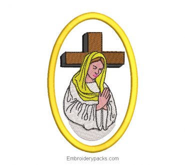 Virgin mary embroidery design with praying cross