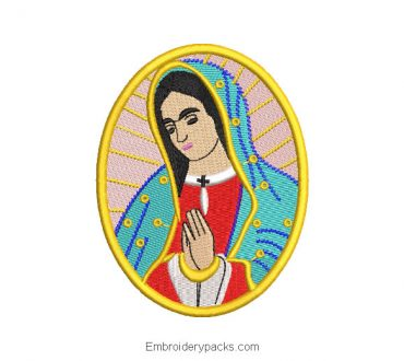 Virgin of guadalupe praying picture embroidery design