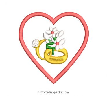 Wedding ring with heart embroidery design