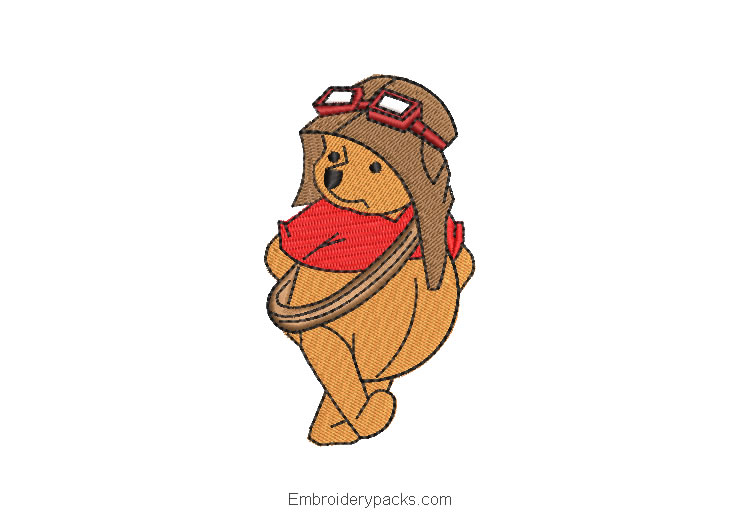 Winnie the pooh with helmet embroidery design