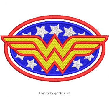 Wonder woman logo embroidery design with stars