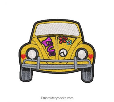 Yellow Car Embroidered Design